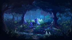 Size: 1920x1080 | Tagged: safe, artist:plainoasis, princess luna, alicorn, pony, female, forest, looking back, mare, missing accessory, night, scenery, scenery porn, solo, wallpaper, water