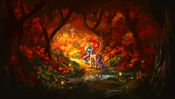 Size: 1920x1080 | Tagged: safe, artist:plainoasis, princess celestia, alicorn, pony, beautiful, female, forest, looking back, mare, missing accessory, painting, reflection, scenery, scenery porn, solo, water