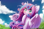 Size: 1800x1200 | Tagged: safe, artist:symbianl, princess flurry heart, alicorn, pony, :3, blushing, cute, female, fluffy, flurrybetes, older, older flurry heart, scenery, sitting, smiling, solo, spread wings, windswept mane, wings