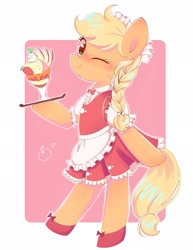Size: 1579x2048 | Tagged: safe, artist:1drfl_world_end, applejack, earth pony, pony, alternate hairstyle, apple slice, apron, bipedal, braid, clothes, cute, female, food, jackabetes, looking at you, maid, mare, one eye closed, pixiv, smiling, solo, strawberry, sundae, waitress, wink