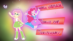 Size: 1920x1080 | Tagged: safe, screencap, fluttershy, pinkie pie, bird, equestria girls, friendship games, andrea libman, balloon, boots, bracelet, clothes, confetti, credits, eyes closed, female, high heel boots, jewelry, jumping, open mouth, opening credits, shoes, skirt, socks, sparkles