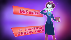 Size: 1920x1080   Tagged: safe, principal abacus cinch, equestria girls, friendship games, beauty mark, clothes, credits, ear piercing, earring, female, glasses, iris quinn, jewelry, lipstick, makeup, multicolored hair, opening credits, piercing, pink hair, purple hair, short hair, solo