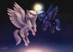 Size: 3507x2491 | Tagged: safe, artist:amyszek, princess celestia, princess luna, alicorn, pony, duo, eye contact, female, flying, glowing horn, horn, horns are touching, looking at each other, magic, mare, night, pink-mane celestia, remake, s1 luna, siblings, signature, sisters, smiling, stars, unshorn fetlocks, younger