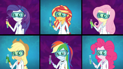 Size: 1920x1080   Tagged: safe, screencap, applejack, fluttershy, pinkie pie, rainbow dash, rarity, sunset shimmer, acadeca, equestria girls, friendship games, clothes, female, gloves, goggles, humane five, lab coat, rubber gloves, safety goggles, sunset the science gal, test tube