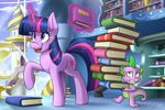 Size: 3300x2200 | Tagged: safe, artist:kaylerustone, spike, twilight sparkle, dragon, unicorn, mlp fim's tenth anniversary, book, bookshelf, carrying, duo, glowing horn, happy birthday mlp:fim, high res, horn, hourglass, library, magic, one hoof raised, open mouth, raised hoof, stack, telekinesis, that pony sure does love books, twilight's canterlot home, unicorn twilight