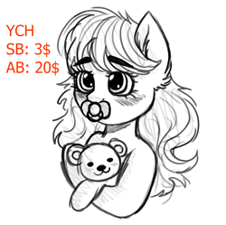 Size: 1841x1835 | Tagged: safe, artist:vaiola, oc, pony, advertisement, auction, avatar, baby, baby pony, big eyes, blushing, bust, commission, cute, ear fluff, eyebrows, female, fluffy, hug, icon, long mane, mare, pacifier, portrait, shy, simple background, sketch, solo, teddy bear, ych sketch, your character here
