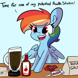 Size: 1800x1800   Tagged: safe, artist:tjpones, rainbow dash, pegasus, pony, blender (object), blue background, female, food, ketchup, mare, salt, sauce, simple background, solo, this will end in diarrhea, this will end in hospitalization, this will end in tears, this will not end well, too dumb to live, toothpaste, white background