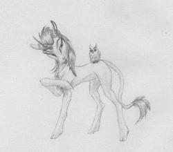 Size: 2505x2204 | Tagged: safe, artist:joestick, oc, bird, classical unicorn, owl, pony, unicorn, cloven hooves, edalyn clawthorne, horn, jewelry, leonine tail, monochrome, necklace, owlbert, ponified, the owl house, traditional art, unicorn oc, unshorn fetlocks