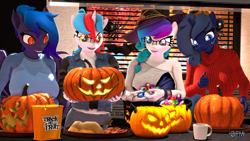 Size: 1920x1080 | Tagged: safe, artist:anthroponiessfm, oc, oc only, oc:audina puzzle, oc:aurora starling, oc:midnight music, oc:wavelength, bat pony, anthro, 3d, anthro oc, bat pony oc, bat wings, beanie, candy, clothes, cute, food, glasses, halloween, hat, heterochromia, holiday, pumpkin, sweater, wings, witch hat