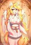 Size: 2112x3008 | Tagged: safe, artist:fensu-san, oc, oc only, oc:star nai, alicorn, anthro, alicorn oc, autumn, eyebrows visible through hair, eyelashes, female, horn, looking at you, open mouth, outdoors, solo, solo female, wings