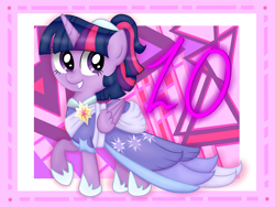 Size: 4032x3024 | Tagged: safe, artist:background basset, twilight sparkle, alicorn, pony, mlp fim's tenth anniversary, the last problem, 10, clothes, coronation dress, dress, female, folded wings, happy birthday mlp:fim, hoof shoes, mare, second coronation dress, smiling, solo, twilight sparkle (alicorn), wings