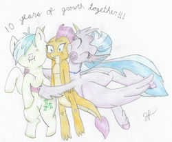 Size: 1607x1324 | Tagged: safe, artist:goldenflow, sandbar, silverstream, smolder, dragon, earth pony, hippogriff, pony, mlp fim's tenth anniversary, uprooted, 10, :i, colored pencil drawing, dragoness, female, group, happy birthday mlp:fim, hug, male, traditional art