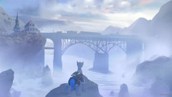 Size: 3840x2160 | Tagged: safe, artist:littlepolly, oc, oc only, oc:flint, pony, unicorn, bridge, building, cloud, commission, fog, gun, half-life, half-life 2, high res, male, rifle, river, rock, scenery, scenery porn, signature, sky, solo, stallion, train, weapon