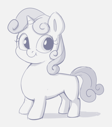 Size: 774x876 | Tagged: safe, artist:heretichesh, sweetie belle, pony, unicorn, female, filly, long, monochrome, sketch, smiling, solo, standing, wiener pony