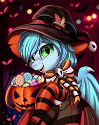 Size: 2550x3209 | Tagged: safe, artist:pridark, part of a set, oc, oc:blackberry frost, bat pony, pony, bat pony oc, bat wings, candy, clothes, commission, food, halloween, hat, high res, holiday, jack-o-lantern, open mouth, pumpkin, pumpkin bucket, socks, solo, striped socks, wings, witch hat, ych result