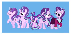 Size: 5217x2500 | Tagged: safe, artist:squipycheetah, part of a set, starlight glimmer, pony, unicorn, mlp fim's tenth anniversary, the cutie map, the cutie re-mark, the last problem, angry, blue background, clothes, equal cutie mark, eyes closed, female, filly, filly starlight glimmer, floppy ears, hair tie, happy, happy birthday mlp:fim, hoof on chest, looking back, looking down, marching, mare, multeity, older, older starlight glimmer, pigtails, raised hoof, s5 starlight, sad, self paradox, self ponidox, simple background, sitting, smiling, solo, time paradox, white background, younger