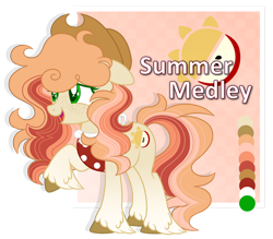 Size: 1280x1123 | Tagged: safe, artist:blazenly-obvious, artist:lazuli0209, oc, oc only, oc:summer medly, earth pony, pony, apron, base used, clothes, cowboy hat, earth pony oc, female, floppy ears, freckles, hat, offspring, parent:big macintosh, parent:fluttershy, parents:fluttermac, simple background, solo, transparent background, unshorn fetlocks