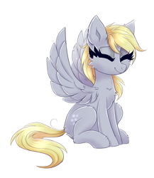 Size: 1748x2018 | Tagged: safe, artist:ravensunart, derpy hooves, pegasus, pony, cheek fluff, chest fluff, ear fluff, eyes closed, female, mare, simple background, sitting, solo, white background