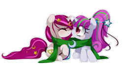 Size: 1896x1000 | Tagged: safe, artist:loyaldis, oc, oc only, oc:zew, oc:zippi, pony, unicorn, boop, clothes, cute, female, filly, foal, happy, noseboop, ocbetes, scarf, simple background, smiling, transparent background, wand