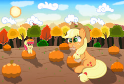 Size: 2160x1460 | Tagged: safe, apple bloom, applejack, earth pony, pony, bush, cloud, eating, munching, pumpkin, tree