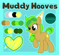 Size: 4065x3825 | Tagged: safe, artist:partylikeanartist, oc, oc only, oc:muddy, earth pony, pony, dunce hat, hat, highlighter, reference sheet, solo