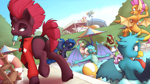 Size: 6000x3375 | Tagged: safe, artist:ohemo, cinder glow, fizzlepop berrytwist, fluttershy, gallus, princess celestia, princess ember, princess luna, rainbow dash, smolder, spike, summer flare, tempest shadow, dragon, griffon, kirin, pegasus, pony, unicorn, absurd resolution, beach ball, broken horn, butt, clothes, eating, eyes on the prize, female, food, frog (hoof), group, horn, lifeguard, male, mare, mouth hold, plot, pool party, popsicle, raised hoof, raised leg, royal sisters, sisters, smiling, swimming pool, swimsuit, underhoof, water, water slide, watermelon, whistle