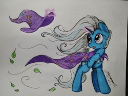 Size: 1008x756   Tagged: safe, artist:josger1996, trixie, cape, clothes, hat, leaves, solo, traditional art, trixie's cape, trixie's hat, wind, windswept mane