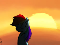 Size: 2000x1500 | Tagged: safe, artist:icywindthepony, rainbow dash, pony, shadow, solo, sunset