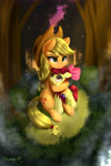 Size: 3000x4500 | Tagged: safe, artist:darksly, apple bloom, applejack, earth pony, ear fluff, female, forest, hug, palindrome get, projector, siblings, sisters, tree