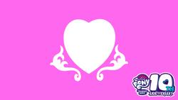 Size: 7680x4320   Tagged: safe, artist:masterbronyfun, princess cadance, mlp fim's tenth anniversary, 8k, desktop background, happy birthday mlp:fim, heart, no pony, wallpaper