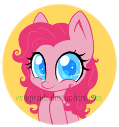 Size: 757x808 | Tagged: safe, artist:bunnini, pinkie pie, earth pony, pony, bust, colored pupils, cute, diapinkes, female, mare, solo, watermark