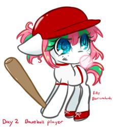 Size: 864x974 | Tagged: safe, artist:bunnini, blossomforth, pegasus, pony, ask filly blossomforth, baseball bat, baseball helmet, bubblegum, female, filly, filly blossomforth, floppy ears, food, gum, missing wing, simple background, solo, transparent background, younger