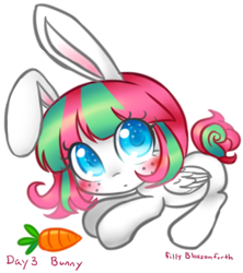 Size: 864x974 | Tagged: safe, artist:bunnini, blossomforth, pegasus, pony, ask filly blossomforth, bunny ears, carrot, colored pupils, female, filly, filly blossomforth, food, simple background, solo, transparent background, younger
