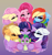 Size: 4851x5133 | Tagged: safe, artist:xsatanielx, applejack, fluttershy, pinkie pie, rainbow dash, rarity, spike, twilight sparkle, alicorn, dragon, earth pony, pegasus, pony, unicorn, mlp fim's tenth anniversary, crying, ear fluff, female, floppy ears, gradient background, happy birthday mlp:fim, mane seven, mane six, tears of joy, twilight sparkle (alicorn)