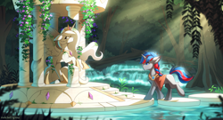 Size: 3000x1617 | Tagged: safe, artist:redchetgreen, princess celestia, oc, alicorn, pony, unicorn, clothes, crepuscular rays, forest, grass, high res, river, ruins, scenery, statue, stepping stones, water