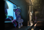Size: 3000x2043 | Tagged: safe, artist:theprince, oc, oc only, earth pony, pony, headphones, high res, nap, rain, solo, tree