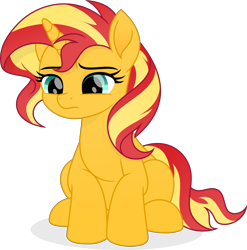 Size: 5582x5659   Tagged: safe, artist:pumpkinpieforlife, sunset shimmer, pony, unicorn, absurd resolution, cute, movie accurate, sad, shimmerbetes, simple background, solo, sunsad shimmer, transparent background, vector