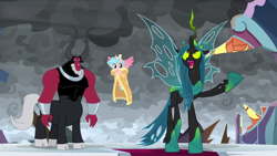 Size: 1920x1080 | Tagged: safe, screencap, cozy glow, lord tirek, queen chrysalis, alicorn, centaur, changeling, changeling queen, pony, the ending of the end, alicornified, bow, cape, clothes, cloud, cloven hooves, colored hooves, cozycorn, dark clouds, female, filly, hair bow, male, nose piercing, nose ring, piercing, race swap, trio, ultimate chrysalis