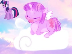 Size: 1080x810   Tagged: safe, artist:jlouanti, twilight sparkle, alicorn, pony, cloud, cute, duo, eyes closed, female, lying down, mare, on a cloud, prone, redesign, sleeping, solo, twiabetes, twilight sparkle (alicorn)