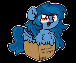 Size: 3250x2688   Tagged: safe, artist:php142, oc, oc:tazzee, bat pony, pony, bat pony oc, bat wings, box, cute, fluffy, pony in a box, wings