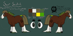 Size: 3655x1821 | Tagged: safe, artist:slimyferret, oc, oc:sour scotch, clydesdale, earth pony, horse, beard, braid, branding, draft horse, facial hair, female to male, hair tie, hoers, ponysona, reference sheet, solo, trans male, transgender