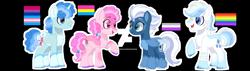 Size: 1280x363 | Tagged: safe, artist:brenxdipity, artist:flutterbases, artist:lazuli0209, artist:yoshiniyuriyaya, double diamond, night glider, party favor, sugar belle, earth pony, pegasus, pony, unicorn, alternate hairstyle, asexual, asexual pride flag, bandage, base used, bisexual pride flag, deviantart watermark, equal four, female, gay pride flag, headcanon, lgbt headcanon, male, mare, markings, obtrusive watermark, open mouth, pansexual, pansexual pride flag, pride, pride flag, raised hoof, redesign, scar, sexuality headcanon, simple background, stallion, trans male, transgender, transgender pride flag, transparent background, unshorn fetlocks, watermark