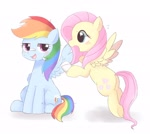 Size: 2048x1831 | Tagged: safe, artist:tstivv, fluttershy, rainbow dash, pegasus, pony, bandage, blushing, cute, dashabetes, female, flutterdash, lesbian, looking at each other, mare, shipping, shyabetes, simple background, white background