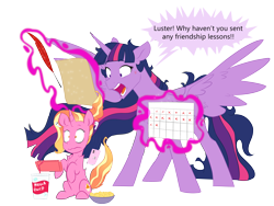 Size: 6000x4500 | Tagged: safe, artist:chub-wub, luster dawn, twilight sparkle, alicorn, pony, unicorn, lesson zero, the last problem, airpods, bowl, cellphone, chips, cross-popping veins, duo, feather, female, food, friendship lesson, friendship report, glowing horn, here we go again, history repeats itself, horn, iphone, levitation, magic, mare, messy mane, millennial luster dawn, nintendo, nintendo switch, older, older twilight, open mouth, panicking, paper, phone, princess twilight 2.0, quill, raised hoof, simple background, sitting, smartphone, soda, stressed, telekinesis, this will end in detention, transparent background, twilight sparkle (alicorn), twilighting