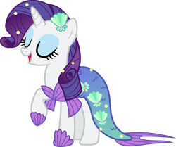 Size: 978x817 | Tagged: safe, artist:pilot231, rarity, mermaid, pony, unicorn, eyes closed, female, mare, mermaid tail, mermarity, open mouth, raised hoof, shell, simple background, solo, transparent background