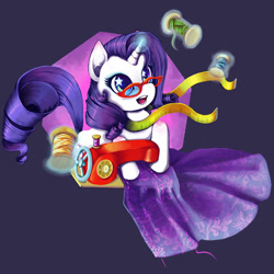 Size: 1000x1000 | Tagged: safe, artist:clockworkthunder, rarity, pony, unicorn, clothes, dress, fabric, female, glasses, glowing horn, horn, levitation, magic, mare, measuring tape, open mouth, sewing, sewing machine, solo, spool, starry eyes, telekinesis, thread, wingding eyes