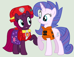 Size: 1394x1086 | Tagged: safe, artist:jadethepegasus, fizzlepop berrytwist, tempest shadow, oc, oc:aurora (tempest's mother), series:sprglitemplight diary, series:sprglitemplight life jacket days, series:springshadowdrops diary, series:springshadowdrops life jacket days, alternate universe, clothes, female, lifejacket, marshall (paw patrol), mother and child, mother and daughter, paw patrol