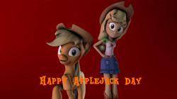 Size: 3840x2160 | Tagged: safe, artist:fazbearsparkle, applejack, earth pony, pony, equestria girls, equestria girls series, 3d, applejack day, human ponidox, looking at you, self ponidox, smiling, source filmmaker