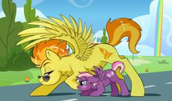 Size: 3373x1997 | Tagged: safe, artist:ali-selle, spitfire, oc, oc:lightning starlight, alicorn, pegasus, pony, alicorn oc, cute, flying, horn, wings