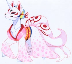 Size: 3345x2965 | Tagged: safe, artist:frozensoulpony, oc, oc:astral allegory, pony, clothes, costume, japanese, kimono (clothing), nightmare night costume, offspring, parent:comet tail, parent:twilight sparkle, parents:cometlight, solo, traditional art